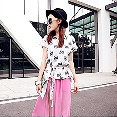 Women's Fashion Cat Print With Belt Chiffon Blouse
