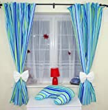 AMAZING NURSERY BABY CURTAINS WITH TIE BACKS 14 Turquoise strips white