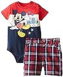 Disney Baby-Boys  Mickey Creeper and Plaid Short
