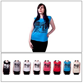 Ladies Retro Mtv Music Television T Shirt Top Womens Funky Vest Top 8-14 Blue