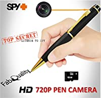 FabQuality Hidden Camera Pen Gold Spy Pen Camera TRUE VIDEO RESOLUTION 1280 x 720P HD + FREE 16GB MICRO Card + BONUS 5 INK FILLS Included, HD Video Camera & Image Recording - Record in 1280x720 HD
