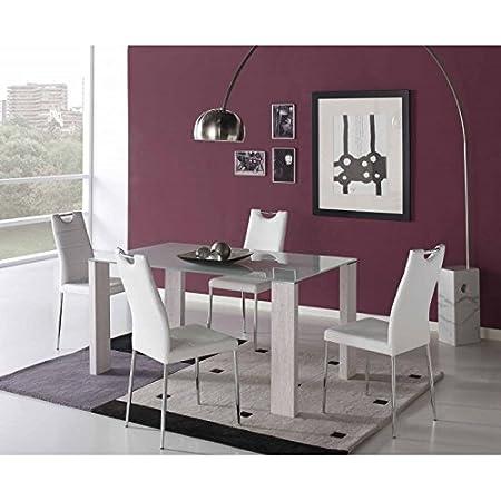 Conjunto de comedor mesa cristal 150 y 4 sillas Ibar - CAPUCHINO/CROMO