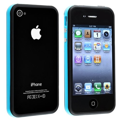 Blue and Black Premium Bumper Case for Apple iPhone 4 - AT&T