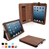 Snugg iPad Mini Leather Case Cover and Flip Stand with Elastic Hand Strap and Premium Nubuck Fibre Interior (Distressed Brown) - Automatically Wakes and Puts the iPad Mini to Sleep