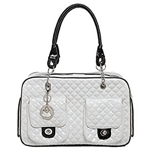 MG Collection® White Quilted Designer Inspired Faux Patent Leather Dog & Cat Pet Carrier Tote Handbag