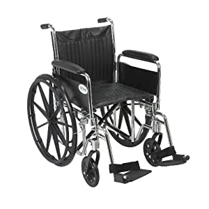 """Drive Medical Chrome Sport Wheelchair with Various Arm Styles and Front Rigging Options, Black and Chrome, 18"""""""