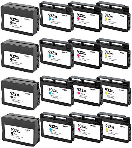 Prestige Cartridge HP 932XL / HP 933XL 16-er Pack Druckerpatronen für HP Officejet 6100, 6600, 6700, 7110, 7600, 7610, 7612, schwarz / cyan / magenta / gelb