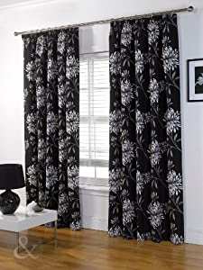 Luxury Half Panama Curtains Heavy Pencil Pleat Curtain Fully Lined Black White Grey Silver