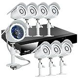 Sistema de vigilancia ZMODO de 8 canales H.264 CCTV con DVR, 8 cámaras para exterior, nocturnas y a prueba de agua y disco duro de 500GB.