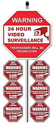 "1 ""24 Hour Video Surveillance"" Yard Sign (9"" x 9"") with 36"" Long Stake Post with 6 Security Alarm System Stickers (White & Red) by SecurePro Signs"