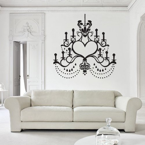 Wall Decal Decor Decals Art Chandelier Lamp Light Decoration Curl Candle Design Mural Bedroom (M990) front-1062610