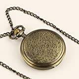 New Ladies Light Copper Stainless Steel Case Silvered Dial Roman Numbers Necklace Pocket Watch