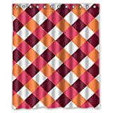 "Modern Brown Red Orange White Small Squares Design Shower Curtain (60""x72"")(New Waterproof Polyester Fabric) - Special Life Custom Bathroom Exclusive"