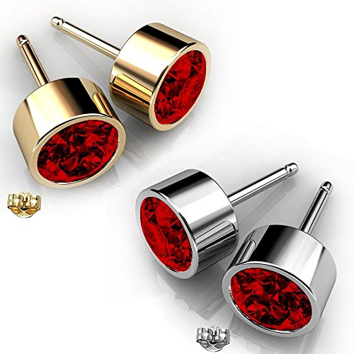 Swarovski Crystals January Birthstone Garnet Stud Earrings (Rhodolite Crystal compare prices)
