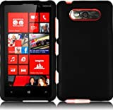 Black Hard Case Snap On Rubberized Cover For Nokia Lumia 820