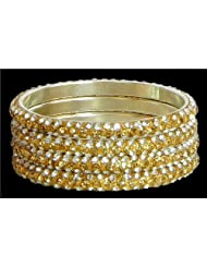 Four Golden With White Stone Studded Bangles - Stone And Metal