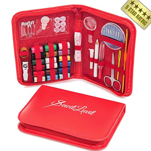 Great Deal! Sewing Kit- SewitLuvit- 5 Star Customer Rating+Bonus! For Adults Beginners Girls Kids Children Teens Travel Emergency Outdoor & Camping. Professional Complete Small Mini & Portable Case. All Basic Tool Supplies: Thread Needles Buttons+ Free Crochet Hook. 100% Money-back Guarantee.