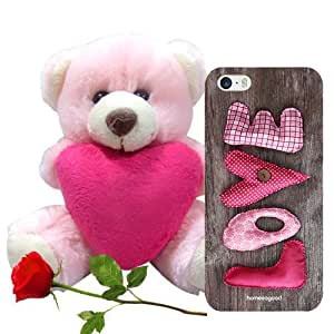 Homesogood Love Etched On Cloth Brown 3D Mobile Case For iPhone 5 / 5S (Back Cover) With Teddy & Red Rose