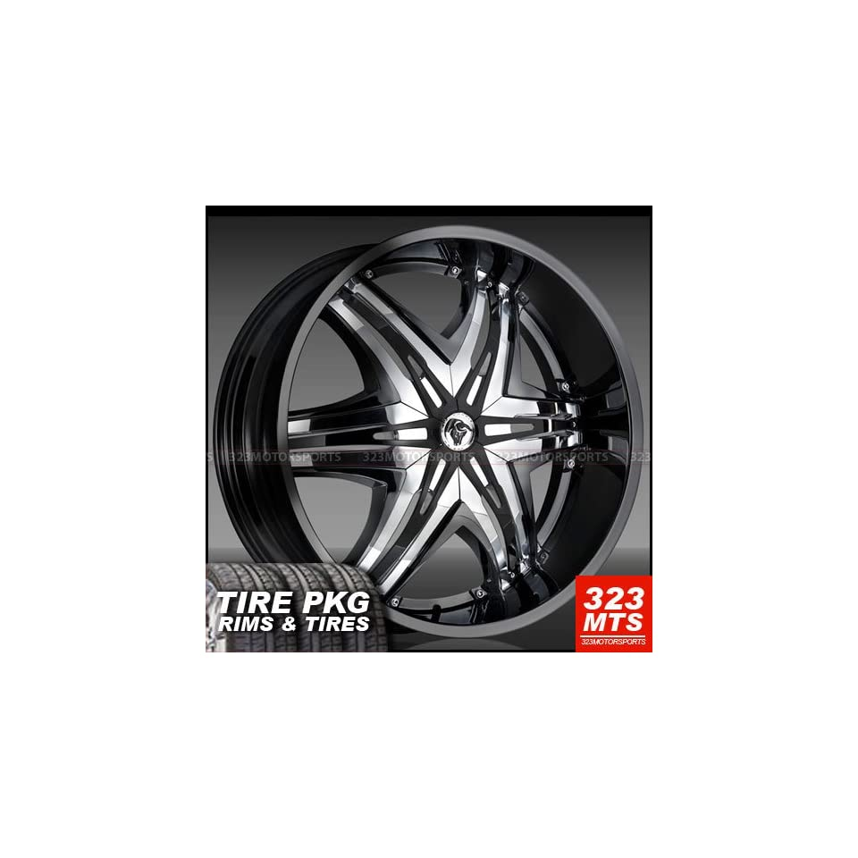 Diablo Elite 28 Black W Chrome Insert Hummer H2 Rims Wheels & Lexani 325/35/28 Tires 4pc  1set