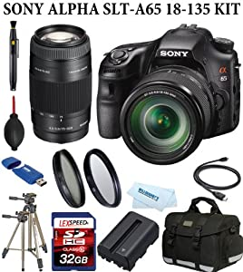 Sony Alpha SLT-A65VM with Sony 18-135mm Lens + Sony 75-300mm Lens + Battery + Camera Case + Filter Kit + 32GB Dlx Kit