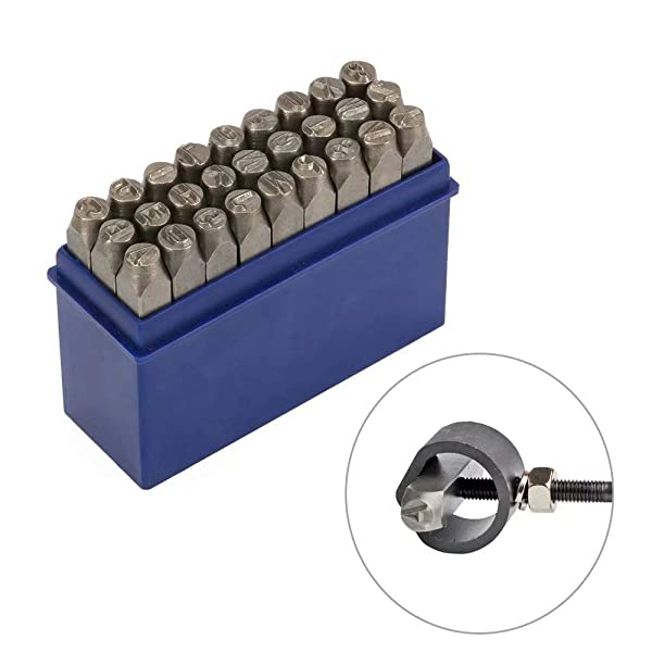 27Pcs 1/4 6mm High Hardness Carbon Uppercase Alphabet Letter Metal Stamp Steel Reverse Punch Set DIY Tool for Mold Metal Wood and Leather (Tamaño: 6mm Letter Punch)