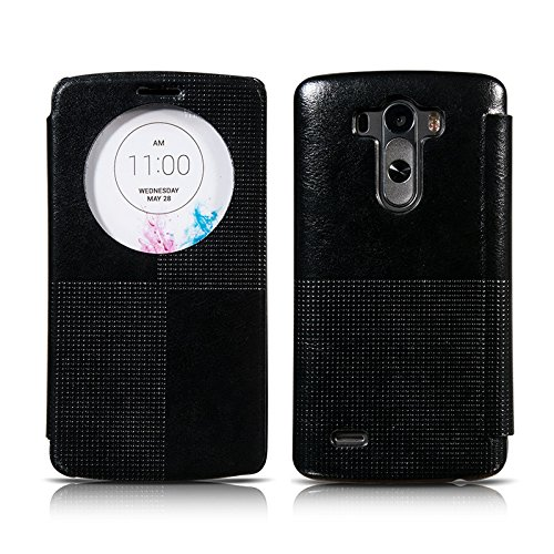 Ivapo Vintage Luxury Intelligent Window Feature Classic Cover Case For Lg G3 (Mm441) (Black)