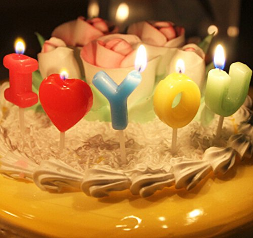 PETMALL I Love You multicolored colour Birthday Cake Candles Assorted Colored Flames Wedding Party Decor Candles CF-153