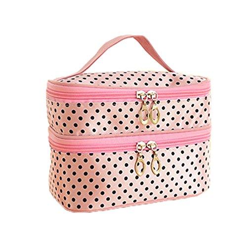OUTEYE 1 x sac multi fonctionnelle dots trousse de maquillage sac de toilette sac à main,double-Deck enceinte zippée avec miroir