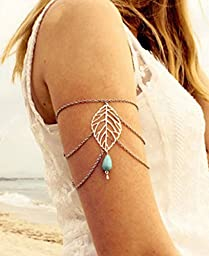 Armlet slave bracelet tassel waterdrop turquoise beads chain upper arm cuff handmade bohemian boho vintage hippie woman jewelry arrvial