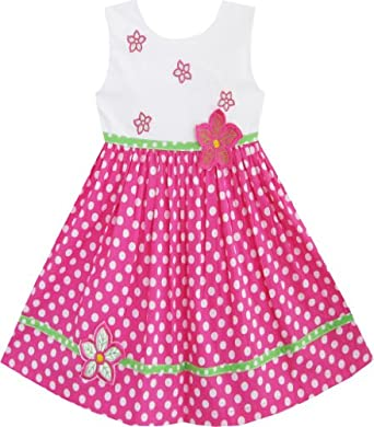 Amazon.com: Sunny Fashion Girls Dress Pink Dot Flower