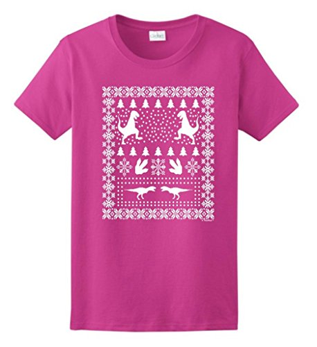 Ugly Christmas Sweater T-Rex Ladies T-Shirt Xxx-Large Heliconia