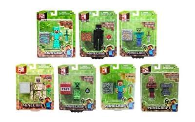 7x Minecraft Figures- Diamond Steve Enderman Zombie Golem Creeper Steve Blacksmith Villager from Jazwares
