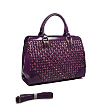 Structured woven tote with patent leather trim can be used as a Cross-body Bag with a long strap