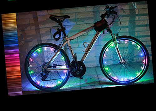 YYGIFT® Waterproof 20 LED Bicycle Wheel Light String Safety Cool Bike Wheel Light for Night Safe Cycling - Working with 3AA Batteries - Multi-color