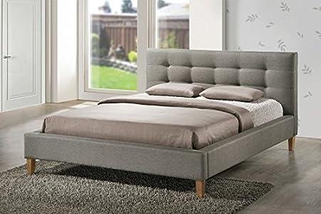 Doppelbett Bettgestell 160x200 Grau+Kopfteil+Lattenrost scandinavian Loft Design Texas