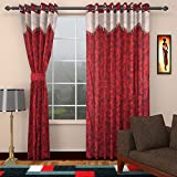 mayra products 1 Piece Polyester Door Curtain - 7 ft, Red