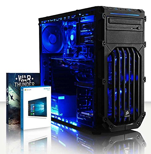VIBOX Hunter 8 - 4,2GHz AMDFX8-CoreCPU, GTX 1060 GPU, Extremo, Ordenador de sobremesa para oficina Gaming, con unidad central, Windows10, Iluminaciàninterna azul (3,3GHz (4,2GHz Turbo) SuperrápidoAMDFX8300 Ochoprocesador8-CoreCPU, Nvidia GeForce GTX 1060 3GBGPUde laTarjeta gráfica de altorendimiento, 16 GB Memoria RAM de DDR3, velocidad de RAM: 1600MHz, 2TB(2000GB)SataIII7200 rpmdiscoduroHDD, 85+ PSU500W, Caja deCorsair)