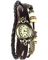 Yesurprise Montre quartz Vintage Avec pendentif Feuille Bracelet en cuir Brun foncé