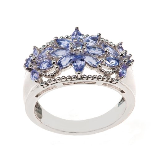 Sterling Silver Flower Shape Cluster Marquise Tanzanite Ring, Size 6