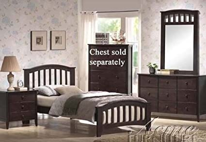 4PC Dark Walnut Finish Bed Set
