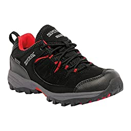 Regatta Great Outdoors Childrens/Kids Holscombe Lace Up Waterproof Walking Shoes (1 US) (Black/Pepper)