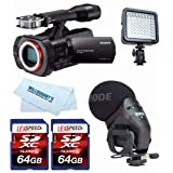 Sony NEX-VG900 Full-Frame Camcorder (Black) + Rode Stereo VideoMic Pro + LED + Two 64GB SDXC Cards