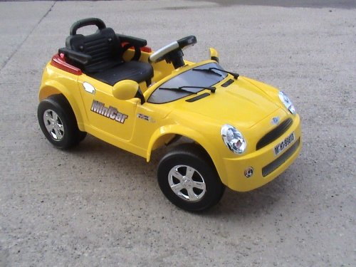 Mini Cooper Kids ride on electric battery powered toy car with parental remote - Yellow