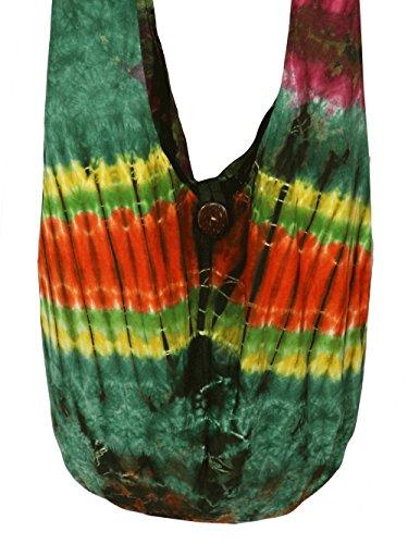 Design By Jingle Tie Dye Sling Crossbody Shoulder Bag Purse Cotton Hippie Cotton (JJ green 2) (Tie Dye In Womens Shoes compare prices)