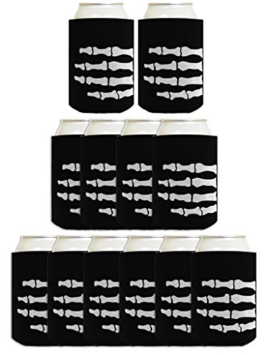Funny Halloween Beer Coolie Skeleton Hand Bones Pirate or Zombie Costume Accessory 12 Pack Can Coolie Drink Coolers Coolies Black