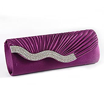 Purple SATIN Wavy CRYSTAL DIAMANTE EVENING CLUTCH BAG PURSE BRIDAL PROM Amazon.co.uk Clothing