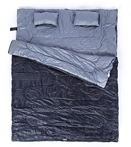 2-Person-Giant-Double-Sleeping-Bag-with-2-Pillows-for-Couple-a-Carrying-Bag-for-Camping-Backpacking-Hiking-Included-300G-M2-3D-cotton-filling-for-Extra-Warm