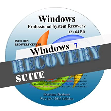 Windows 7 Advanced System Recovery disk Live Boot CD 32/64 bit DVD. (disc is comparable with Home Basic, Home Premium, Business, and Ultimate)