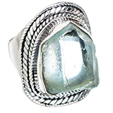 Aquamarine, Aigue-Marine Argent Sterling 925 Bague 8.5