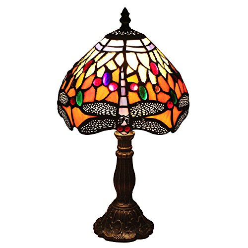 U-Taste Tiffany Style Lamp with 8-Inch Dragonfly Shade 15-inch Height (Small Stained Glass Lamp Shade compare prices)